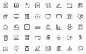 set of business thin line icons, office, workplace