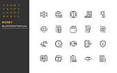 set of money thin line icons, online payment, digital money, finance,