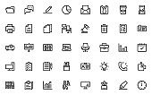 set of office thin line icons, workspace, business, company