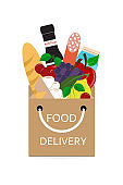 Food delivery. Grocery shopping concept. Purchase of fresh food with delivery in a paper bag. Vector illustration.