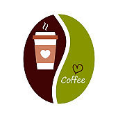 Coffee symbol design, coffee bean icon and disposable cup with favorite hot drink. Vector illustration.