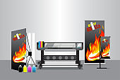 Large Format Printer with Display Stuff