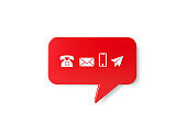 Red Chat Bubble With Various  White Contact Us Symbols On White Background