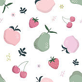Summer seamless pattern with fruits isolated on white. Sweet cartoon background. Pastel pink and green colors. Vector