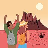 hiker couple on desert