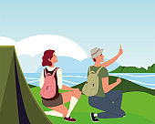 traveler couple river