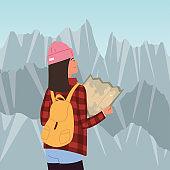 tourist with map landscape