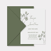 Modern wedding invitation, green wedding invitation template with eucalyptus branches leaf and handmade calligraphy.