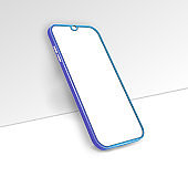 Smartphone frame with blank screen. Realistic blue mockup near the wall. The layout of the universal device. Vector design, smartphone template. Telephone frame.