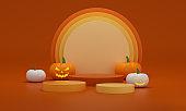 Halloween pedestals with pumpkins white, orange and yellow on a orange studio background. Empty podium platform.