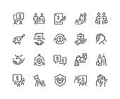 Line Business Cooperation Icons