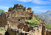 Abandoned village at the top of the mountain peak in Dagestan Russia