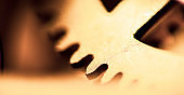 Machine Parts Gear Wheels Abstract Background Extreme Macro