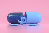Inflatable Ring in Pill Capsule, Minimal Summer Holiday and Travel Background