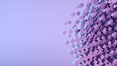 Abstract Flying Cubes, Geometric Shapes Background, Neon Lighting