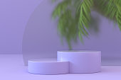 Blank product stand, podium, pedestal, exhibition with palm tree