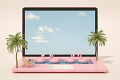 Laptop Swimming Pool, Summer Holiday and Travel concept