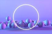 Flying Spheres with Empty Neon Frame on Color Gradient Background