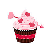 Valentines day cupcake icon isolated on white background.