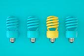 Light Bulb, Energy Saving, Different Creative Idea Concept