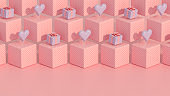 Gift Boxes and Hearts on Isometric Cube Background