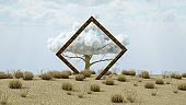 Drought Earth, Climate Change, Square Frame, Cloud on Tree, Surreal Concept