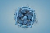 Flying Light Bulbs, Minimal Idea Concept