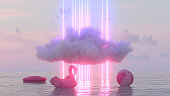 Neon Lightning Glowing Lines and Cloud over the Sea, Summer Holiday Travel Background