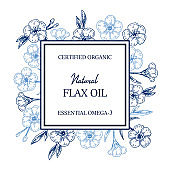 Hand drawn flax frame. Vector illustration in sketch style for linen seeds and oil packaging