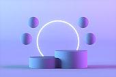 Empty Product Stand, Platform, Podium, Exhibition, Neon Lights, Flying Spheres