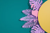 Tropical Palm Leaves with Sun. Minimal Summer Background