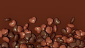 Chocolate Hearts Abstract Background, Love, Valentine's Day Concept