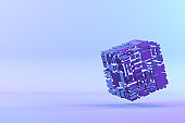 Abstract Cube, Geometric Shapes Background, Blockchain, Neon Lighting