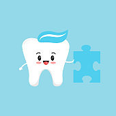 Cute tooth with puzzle piece.
