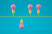 Light Bulb, Minimal Idea Concept, Standing out from the crowd