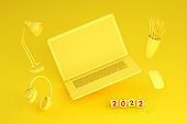 2022 New Year, Flying Blank Screen Laptop on Yellow Background