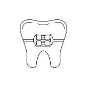 Tooth in braces dental line art icon isolated on white background.