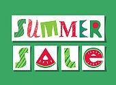 Summer Sale fancy lettering vector signboard