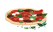 Full Feta cheese and salami pizza with pepper, jalapeno, basil and tomato sauce.Tasty Italian food with sausages and vegetables. Colored realistic Flat Vector illustration isolated on white background