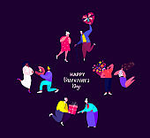 St Valentine Day Greeting Card.Young,Elderly Couples Celebrate Holiday.Men give a Bouquets of Flowers,Gifts to Women,Girlfriends for St Valentine's Day.Loving Romantic People. Flat Vector Illustration