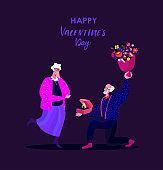 Valentine Day Celebrating.Retired Pensioner Old Man Stand on Knee with Wedding Ring,Bouquet of Flowers Making Offer to Elderly Woman to Marry.Engagement,Betrothal Proposal.Marriage Vector Illustration