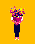 Holiday Festive Greeting Card for St Valentine's Day,Birthday or Anniversary.Woman Holding Huge Bright Bouquet of Flowers. Romantic Event Invitation. Flower Shop Flyer Leaflet Flat Vector Illustration