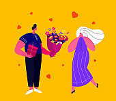 Happy Smiling Young Man Presenting a Bouquet of Flowers and Gift Box for Girlfriend for St Valentine's Day or Birthday. Loving Romantic Couple Celebrate Valentine Day Holiday .Flat Vector Illustration