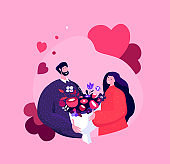 Happy Smiling Young Man Presenting a Bouquet of Flowers for Girlfriend for Valentine Day,Birthday or Wedding Anniversary.Loving Romantic Couple Celebrate Heart Holiday Cartoon Flat Vector Illustration