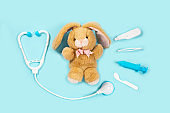 Curing a rabbit. Toy medical devices on a blue background.