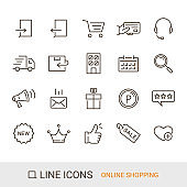 EC site icon, Shopping guide, Standard content, Line icons