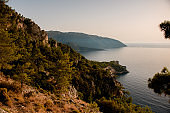 gorgeous view of nature landscape with blue sea and beautiful cliff