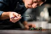view of an incredible dish that male chef decorates with twig