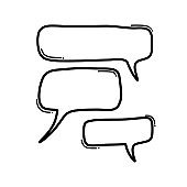 Speech bubble Doodle vector icon. Drawing sketch illustration hand drawn cartoon line eps10
