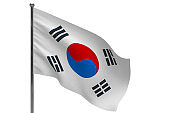 south korea flag on pole icon